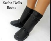 Sasha Doll Boots, A Girl For All Time Boots, Black Faux Leather Boots - MADE TO ORDER - Now in rainbow of colors