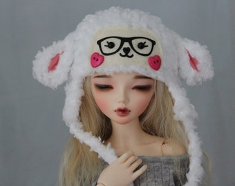 BJD Hat - White Lamb for Minifee abjd 1/4 Ball Jointed Doll Clothes Size 7 MSD Sheep Hat Animal - Dollfie abjd