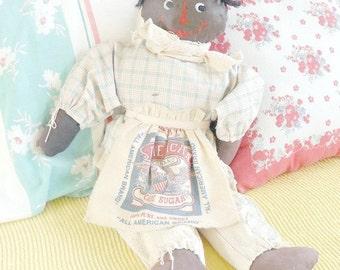 Antique Black Doll Hand Made Oil Cloth 20 inch 1940s American Sugar Apron