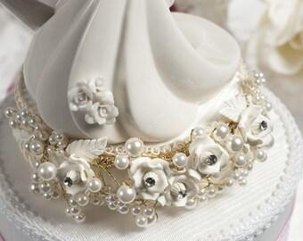 Gold Vintage Rose Pearl Cake Topper Base - 1511G