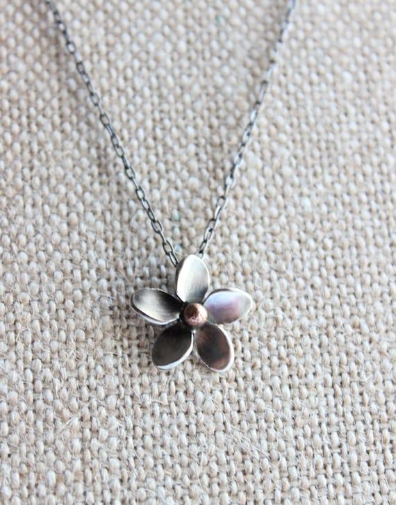 Plumeria Pendant, Hawaiian Frangipani Flower made by Hapa Girls, Flower jewelry, Silver Plumeria, Handmade, gift unde 50 Gifts for her