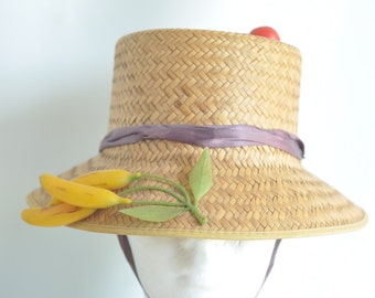 Antique 1940's Fruit Woven Straw Hat Kitsch style Millinery Vintage Chin Tie
