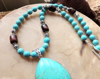 Turquoise Necklace, Turquoise and Mahogany Obsidian, Handcrafted Jewelry, Southwest Style, Silver Bezel Pendant