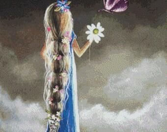 Cross Stitch Kit -  An Enchanted Moment By Shawna Erback - Fairy Tale Rapunzel Modern Art CrossStitch - DMC Materials