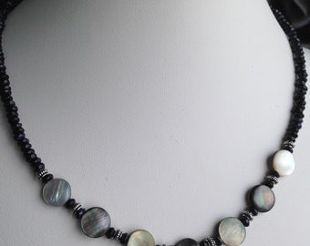 Necklace - Mother of Pearl Disks, Blue Goldstone and Pewter Aceents
