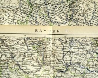 1895 German Vintage Map of Bavaria 2 / Bayern / Munich / Muenchen Region, Germany