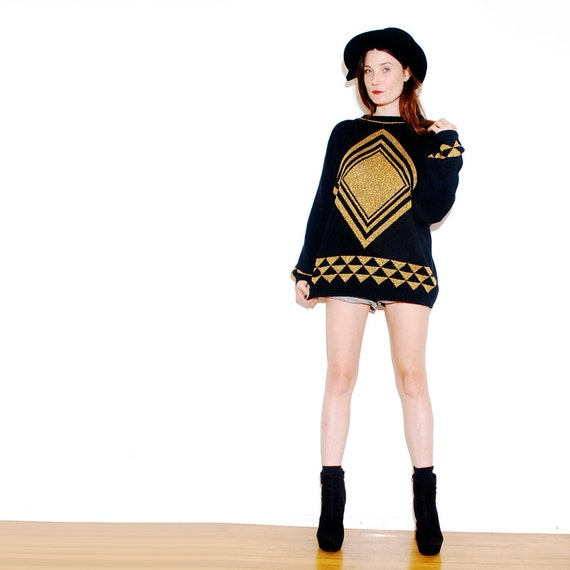 OVERSIZED GEOMETRIC SWEATER // black gold knit sweater, hipster sweater, knit jumper, diamond arrow pattern, Aztec native tribal // one siz