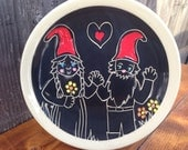 Gnomes in Love Plate / Valentines gift / Engagement gift