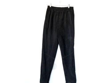 Black Seude Leather Skinnny Sweat Pants M 80s Slim