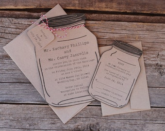 Mason Jar Wedding Invitaiton Suite - RSVP - Save the Date -  Baby or Bridal Shower  - Engagement Party - Accomodation Card - Insert
