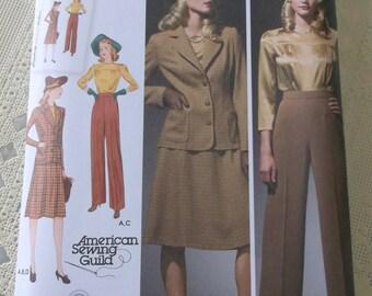 1940s Style Retro Plus Size Womens Blouse Skirt Pants Jacket Pattern New Uncut Simplicity 3688