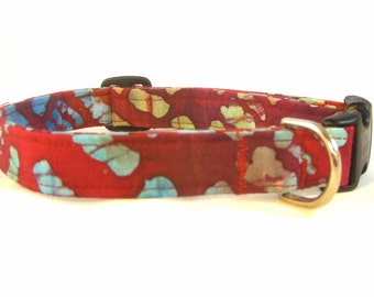 Handmade Fabric Dog Collar Burgandy Batik