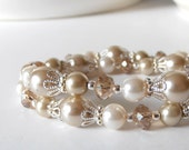 Beige Pearl Bracelet, Ivory and Beige Bridesmaid Jewelry Gift, Beaded Multi Strand Bracelet, Wedding Jewelry, Crystal and Pearl Bridal Sets