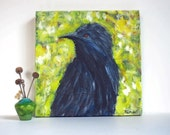 Black Bird Painting Spring Colors 12x12 Fine Art Acrylic on Canvas Grackle Crow colorful contemporary original art yellow green Wall Decor