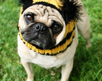 Bumble Bee Dog Hat - Pug Hat - Bumble Bee Costume - Cozy Dog Clothes - Handmade Gift