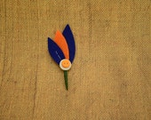 CUSTOM ORDER for Monica: orange + blue felt boutonniere with orange and white buttons