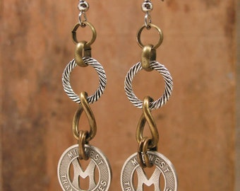 Transit Token Jewelry - Midwest Transit Lines of Ames Iowa Industrial Style Token Dangle Earrings - Initial M - Mixed Metal Styling