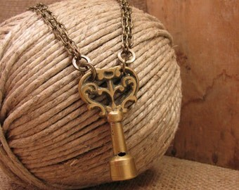 Upcycled Key Jewelry - Antique Solid Brass Valve or Winder Key Industrial Style Necklace