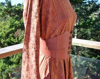 Embroidered Dress, Long Hippie dress, Brown Caftan, 80s maxi dress, size L