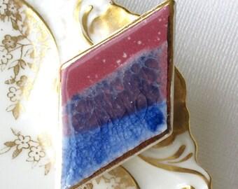 Porcelain Diamond Shaped Brooch. Berry Red & Sapphire Blue Glaze with 22K Gold Decoration. Crimson. Periwinkle. Mauve. Indigo. Geometric