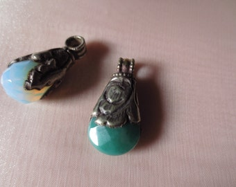 Opal Onyx Or Turquoise Onyx Pendant Tibetan Silver  for Jewelry Design, Tribal Fusion, Bellydance