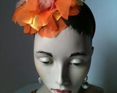 Coral, Orange and Gold Carmen Flower Headband Fascinator, hand beaded.