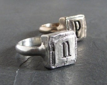 Sterling silver initial ring / custom initial ring / personalized ring / monogram ring / rustic ring / letter ring / personalized jewelry