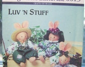 Butterick 6615 Stuffed Bunny Pattern,  Bunny Doll, SALE, Craft Sewing Clothing Luv 'n Stuff Soft Toy Play Animals, Vintage Craft Pattern