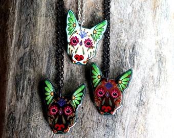Day of the Dead German Shepherd Sugar Skull Dog Necklace in Brown, White or Black