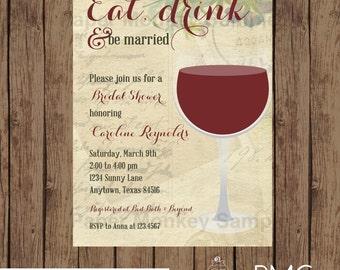 Custom Printed Wine Bridal Shower Invitations - 1.00 each with envelope