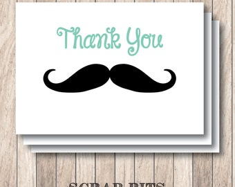 Mustache Thank You Note Card Set . Custom Colors (Qty. 8)