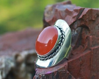 Sterling Silver and Carnelian Finger Armor  Ring