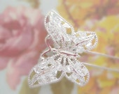 Large Butterfly Kanzashi - Hair Stick - Ethereal, Elegant, Bridal Accessory, Wedding Accessory, Hair Accessory, Crystal Hair Accessory