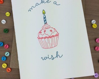 make a wish - single letterpress greeting card