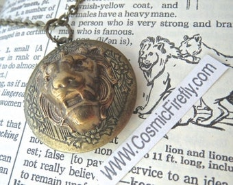 Brass Lion Locket Lion Necklace Antiqued Brass Locket Round Locket Lion Head Vintage Inspired Jewelry Leo Lion Jewelry Women's Locket New
