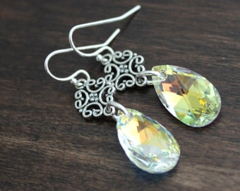 Aurora Borealis Swarovski Crystal Pear Teardrop Earrings, Sterling silver filigree connecters, Sparkling rainbow, Old hollywood