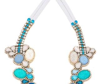 SALE- Doloris Petunia's Seurat Necklace - Color Fade in Denim Tones