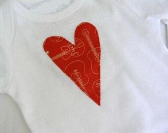 Hearts & Guitars Red Heart Baby Onesie Size 3 months