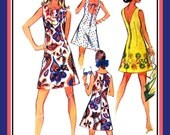 Vintage 1969-SWINGING MOD A Line Dress-Sewing Pattern-Three Sexy Backs-Round-Low Scoop & V Shapes-Great for Bold Print Fabrics-Size 10-Rare