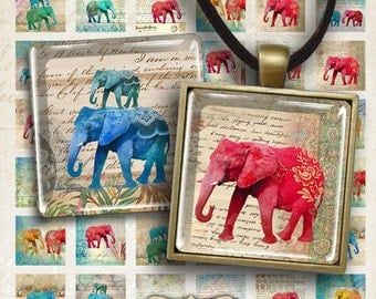 Digital Collage Sheets ELEPHANTS 1x1 inch and 7/8x7/8 inch size Printable Downloads for square pendants magnets bezels scrapbooking paper