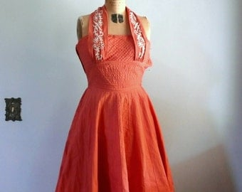 1950s Dress // Coral Halter with soutache and rhinestones.