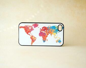 Neon Colorful World Map Custom iPhone 4 Case, iPhone 5 Case - unique Phone Cases, globe