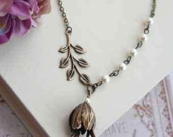 Tulip Petal Flower, Brass Leaf Branch Ivory Pearl Necklace. Bridesmaid Gift. Vintage Nature Inspired Style. Country Wedding. Rustic Wedding.