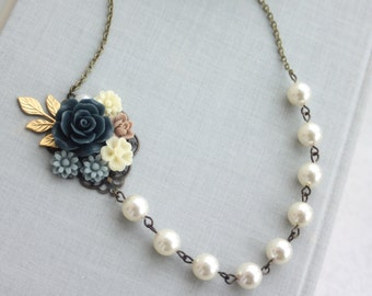 Navy Blue Rose, Grey Blue, Ivory Daisy, Gold Leaf Sprig, Ivory Pearls Flower Necklace. Fall Rustic Wedding. Bridesmaid Gift.  Something Blue