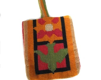 70s Handbag Vintage Needlepoint Flower Purse Boho Style