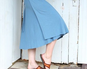 Below Knee Organic Wrap Skirt - Many Colors Available - Organic Fabric