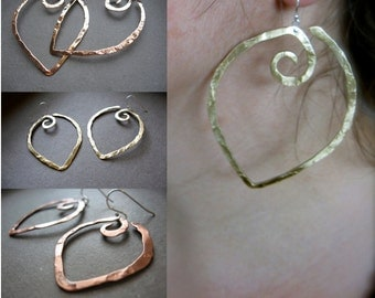 Lg - Sml Pound Hanging Point  Earrings in Copper, Bronze or Sterling