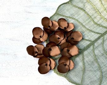Hydrangea Blossoms-Handmade satin sew on flower appliques (10 pcs)- MOCHA BROWN