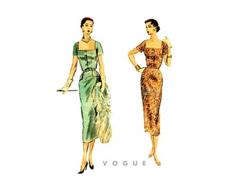 Vintage 50s Sheath Dress Pattern Vogue 7951, Lovely Cocktail Dress with Square Neck, Short Sleeves, Easy Sewing Pattern