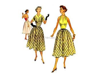 1950s Halter Dress Pattern McCalls 9333, Womens Sundress, Full Skirt, Short Jacket, Uncut, Fit & Flare Dress Vintage Sewing Pattern